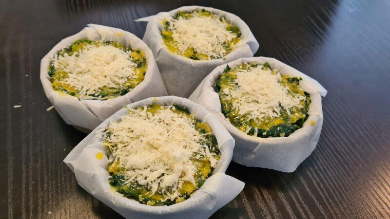 Delizioso sformato di spinaci e uova